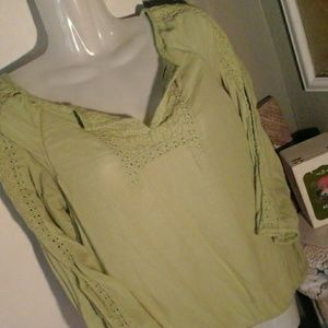 Vintage America Pullover w Gathered Waist and Cuff